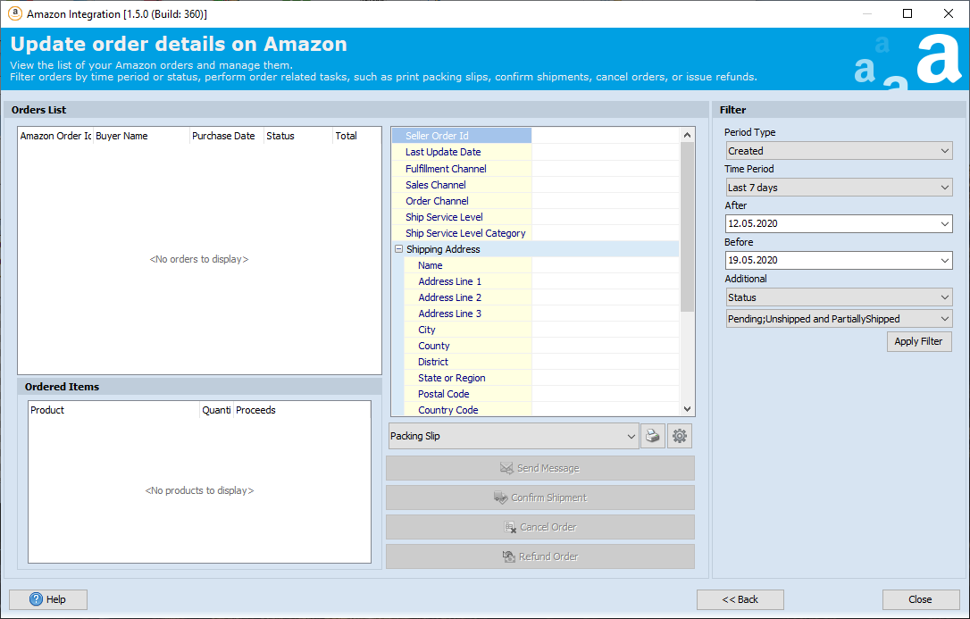 Manage orders made on Amazon right in the addon
